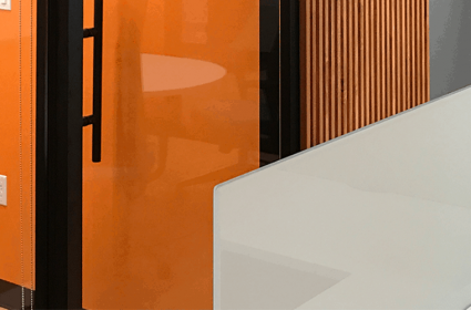 Biotech Offices – Slat Walls and Modern Warm Lighting